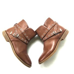 Zara brown booties 8 grommets euro size 38